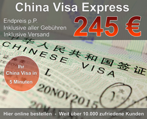 China Visum Express günstig 245 Euro Endpreis