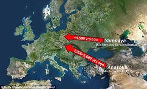 Mapa que refleja los dos grandes movimientos migratorios del Neolítico. El primero, desde Oriente próximo, fue un encuentro entre preindoeuropeos. El segundo, desde la Estepa Póntica, produjo un gigantesco vuelco cultural en nuestro continente.