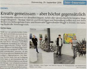 Bild: Dr. Dietmar Hawran - Ausstellung im  Eggenschwiler-Wiggli Stiftungshaus, Eriswil CH - www.kunstarsenal-ravensburg.de