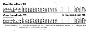 Die erste Buslinie: Fahrplan in 1950