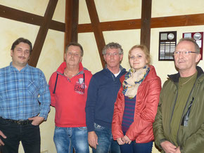 Bild(Dieter Blötz) v.l:. Daniel Sucker (Schriftführer), Norbert Oehlschläger (2. Vors.),Manfred Macher (1. Vors.), Natalie Olenberg (1. Kass.), Uwe Rodehorst (Vereinsfachberater)