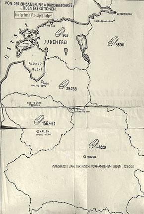 Приложение в виде карты к докладу командира айнзацгруппы «А» Франца Шталеккера