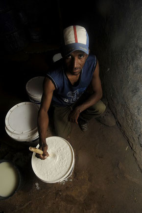 Cheese-making in a traditional case de queijo in Santo Antão *