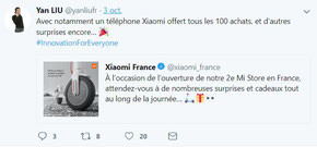 Tweet de Yan LIU, Country Manager Xiaomi France.