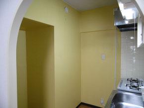 キッチンモルタル壁ペイントです