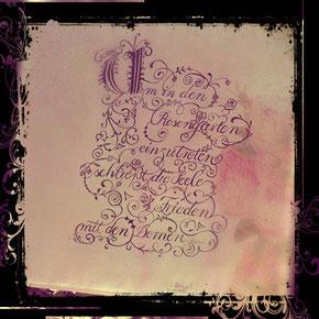 Schrift Kunst Rosen Acrylbild mit Kalligrafie und Schnörkeln