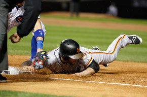Gillaspie out in prima base ( Nam Y. Huh AP Photo)