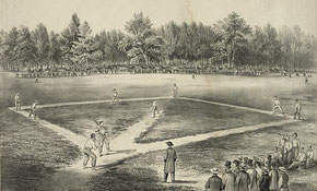 "Il disegno rappresenta una partita nel 1866 al ""The Elysian Fields"" in Hoboken, N.J (Currier & Ives/Library of Congress)"