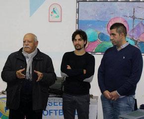 Nella foto la festa per il 40° anniversario- Da sx Michele Dodde, Marco Gino Costante e Antonio Maggio (Fonte Tritons Taranto)