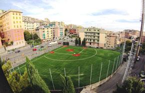 Nella foto il Carlinetto field unico campo italiano in sintetico costruito nel 2014 dai Rookies di Genova