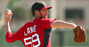 Nella foto Tom Layne lanciatore dei Boston Red Sox cresciuto all'University of Mount Olive