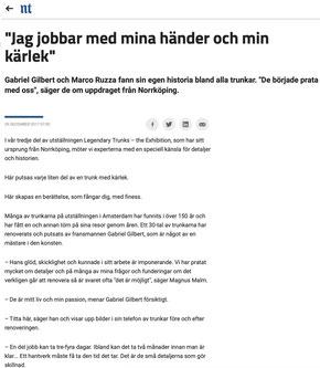 Décembre 2017 - NT.SE  La presse suédoise nous consacre plusieurs interviews sur le métier de la restauration de malle ancienne Louis Vuitton. Diffusé sur plusieurs supports :  https://nt.se/ https://affarsliv.com/