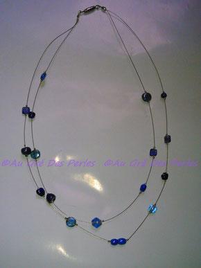 Ras de cou : Perles artisanales Indiennes en verre  sur fil câblé