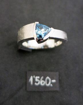 Bild:Ring,Palladium950, Aquamarin,Handarbeit,Unikat