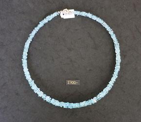 Aquamarincollier,Edelsteinkette,Aquamarin,scheibenförmig