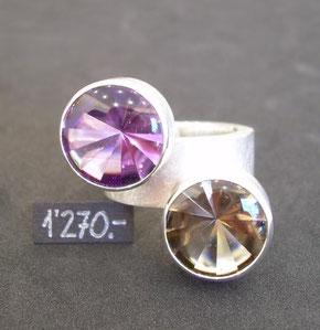 Bild:Ring,Silber925,Amethyst,Rauchquarz,Bufftopschliff,Handarbeit,Unikat