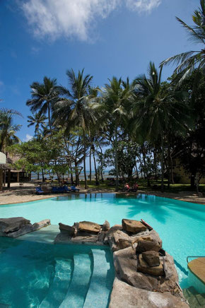 Pool overlooking the ocean at the Severin Sea Lodge, Mombasa, Kenya. Dante Harker.
