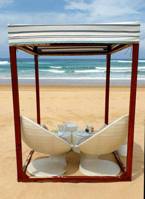 Lunch on the beach with a view at White Pearl Resorts, Mozambique. Dante Harker