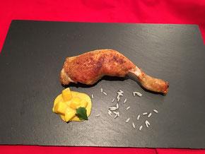 Hähnchen Keule an Mango-Curry