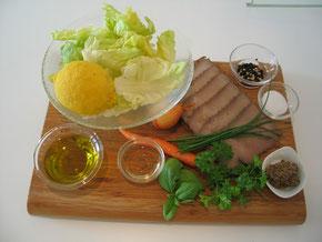 Siedfleisch - Salat - Zutaten