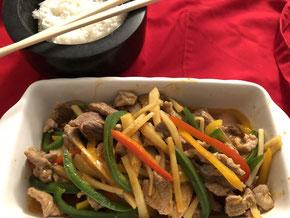 Schweinefleisch an Curry