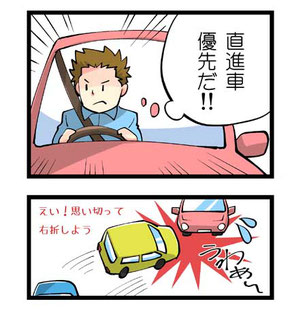 右折車の危険行動
