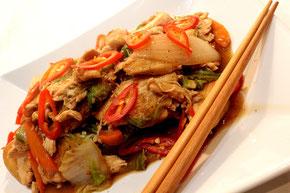 Chinesisches gebratenes Rindfleisch Schweinefleisch Hähnchenfleisch in Austernsauce Rezept