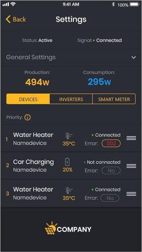 Einstellungen Solar Manager Handy-App für Kunden