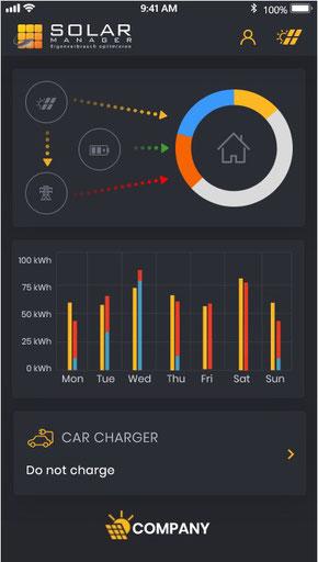 Solar Manager: Startseite Handy-App für Kunden