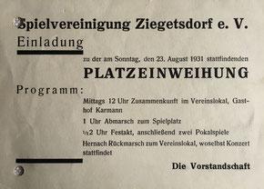 Die Einladung zur Platzeinweihung im Jahre 1931