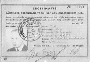 Legitimatiebewijs van Jan Tuut