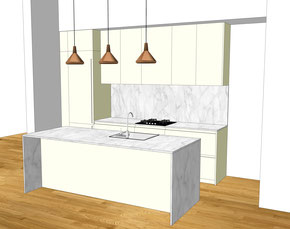 Création d'une cuisine Design à Bordeaux par MP intérieurs, Architecte d'intérieur à Bordeaux (33) : avant projet 3D.