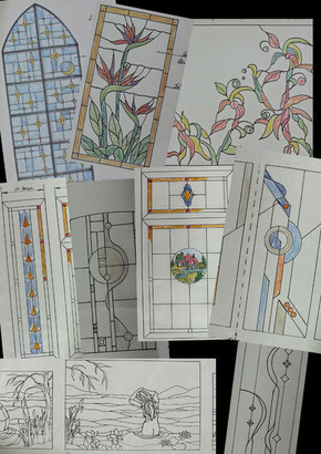 Entwürfe für Bleiverlasungen erstellt vom Glasatelier Wetzel