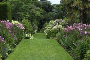 Gepflegter Rasen zwischen bunten Blumenrabatten im Lismore Castle Gardens ©Lismore Castle Gardens