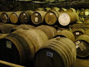 Lager mit Whisky-Fässern auf Islay