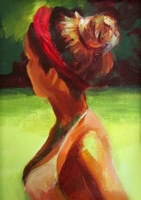 "Original Gemälde Frauenportrait ""Judy"" 13 x 18 cm"