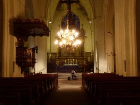 Flensburg, St. Marien, Einmessung für die Probebeschallung und Demonstration