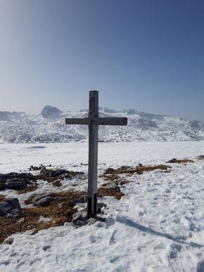 Speikberg Gipfelkreuz bei einer Skitour über Margschierf, Heilbronner Kreuz, Niederer Speikberg und Gjaidalm