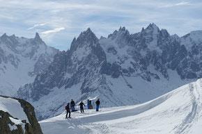 vor den Aiguilles de Chamonix, Panorama vom Belvedere
