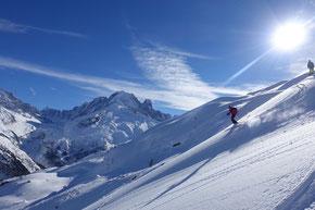 erste Spuren vom Col de Chamois in der Aiguille Kulisse