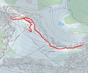 Route von der Gipfelstation der Schafbergbahn auf den Schaftberg Gipfel und zur Spinnerin