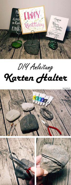 Eine einfache DIY Anleitung wie du aus einem Stein und etwas Draht ganz einfach einen Lettering Halter basteln kannst! Deine Fotos, Letterings, Karten, Notizen und Zeichnungen kannst du so ganz einfach aufstellen und präsentieren.