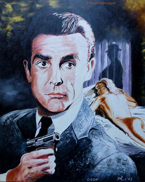 Sean Connery in Goldfinger, Öl auf Leinwand