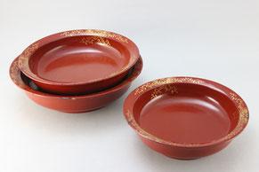 三ツ組鉢の塗り・沈金修理