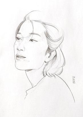 Portrait, Bleistiftportrait, Bleistift-Portrait, Bleistifzeichnung, Bleistift, Zeichnung, Frauenportrait