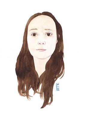 Portrait, Selbstportrait, Wasserfarbe, Aquarelle, Illustration, Frauenzeichnung, Frauenportrait