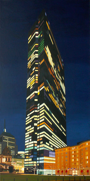 """Andrew Woodward, """"Copley Midnight,"""" 2017, acryclic on canvas, 60 x 30 inches, $9,200"""