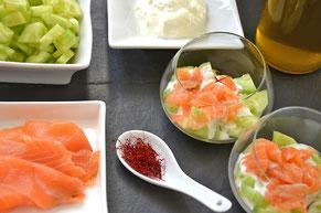 cuisine au safran - idées recette : verrines de saumon au safran