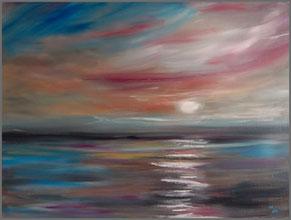 Ein Öl und Acrylbild in Mischtechnik einer abstrakten Meeres Landschaft. Ein modernes Leinwandbild online kaufen.