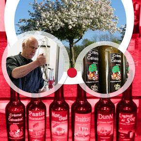 Visite guidée de l'atelier de liqueurs au Calvados. Notre spécialité la Crème de Calvados.